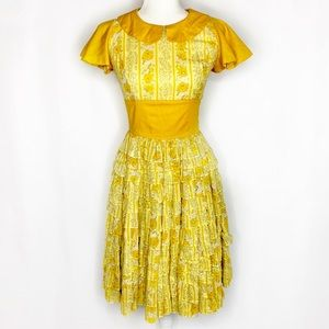 Vintage Gold Floral Ruffle Skirt Fit & Flare Dress